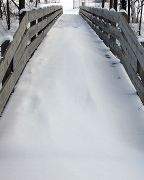 snow on foot-bridge